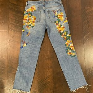 Free People floral embroidered jeans